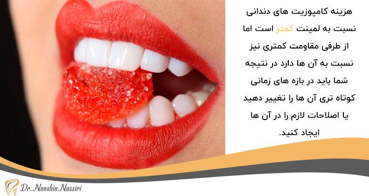 هزینه کامپوزیت های دندانی در مقایسه با لمینت کمتر است